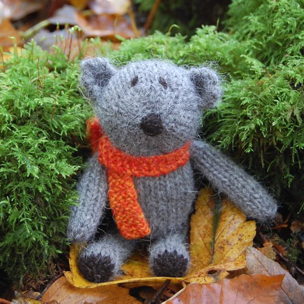 Sweet little Douglas another of our Little Scraps Teddy Bears. Entirely hand knitted from our hand spun pure alpaca wool and measuring just 5 inches.