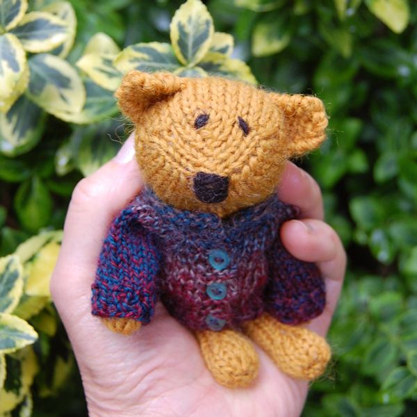 Meet Marmalade, our super cute Little Scraps teddy Bear. hand knitted in pure soft alpaca wool this little one measures just 5 inches in height.
