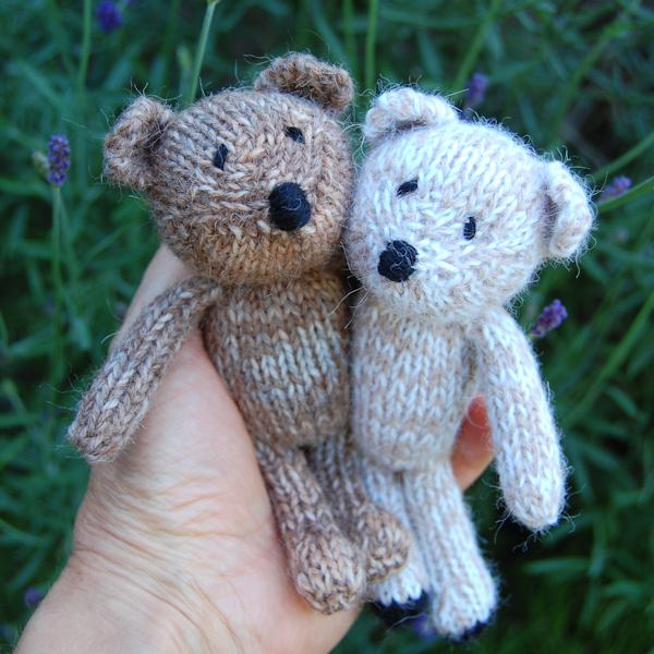 Willum and Gregor two adorable hand knitted teddy bears