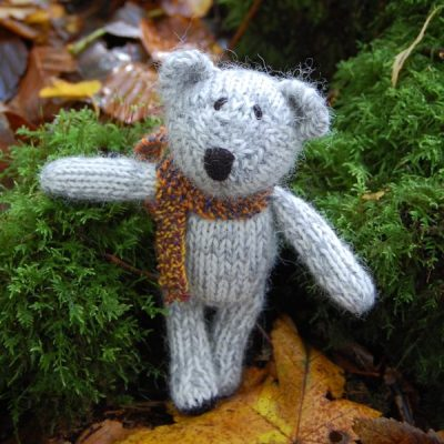 Sweet little Boris another of our Little Scraps Teddy Bears. Entirely hand knitted from our hand spun pure alpaca wool and measuring just 5 inches.