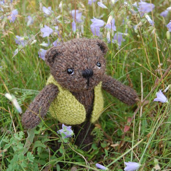 Cute little Ifan hand knitted in Black Welsh Mountain sheep's wool
