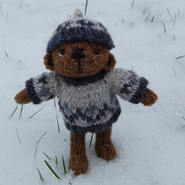 Little Castlemilk Moorit wool teddy bear Rufus enjoying the snowy weather
