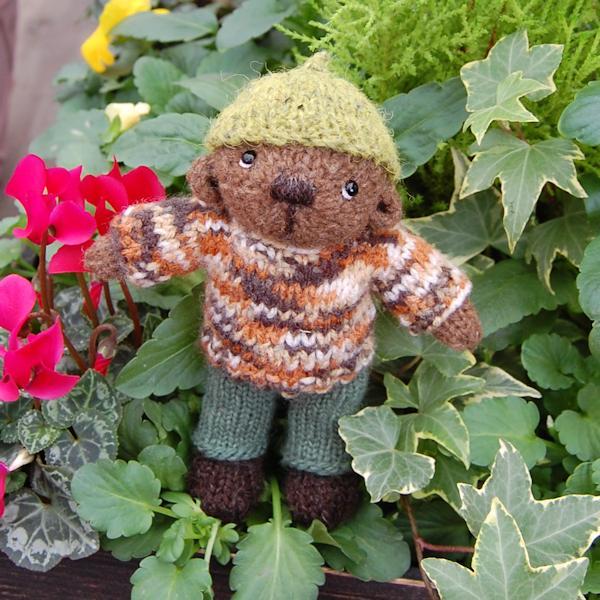 The very cute little Tegwyn hand knitted in pure Castlemilk Moorit wool