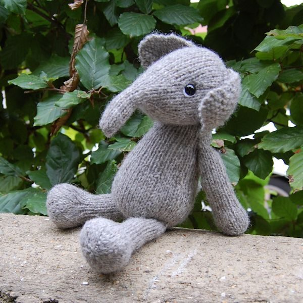 Our cute baby elephant hand knitted from pure Shetland hand spun wool