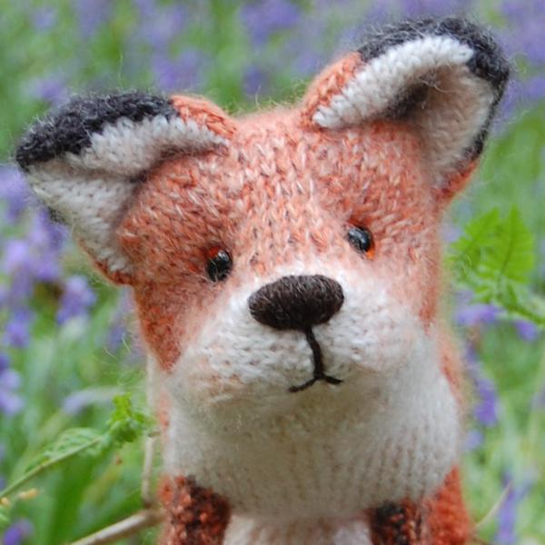 Adorable little fox hand knitted in pure wool, alpaca and mohair