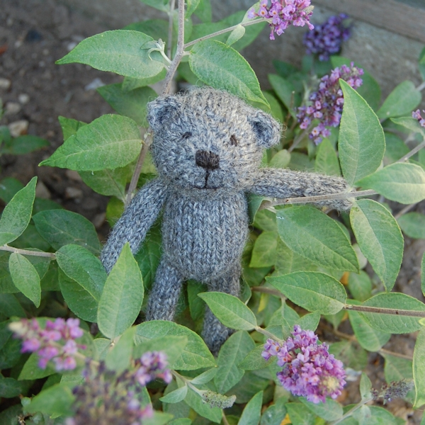 Little Scraps teddy bear Dempster , made from hand spun pure Gotland wool and enjoying the scent from the mini Budlea bush