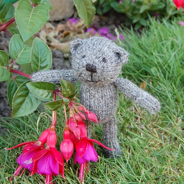 Hand knitted Gotland wool teddy bear