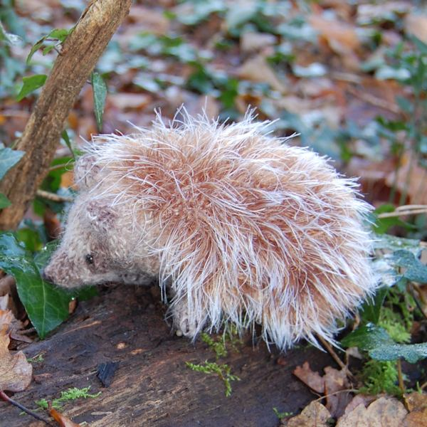 Adorable little hedgehog hand knitted in pure wool, alpaca and mohair wool