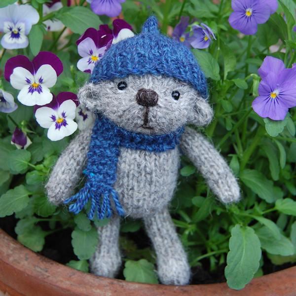 The very cute little Harry, a Herdwick wool hand made pocket teddy bear