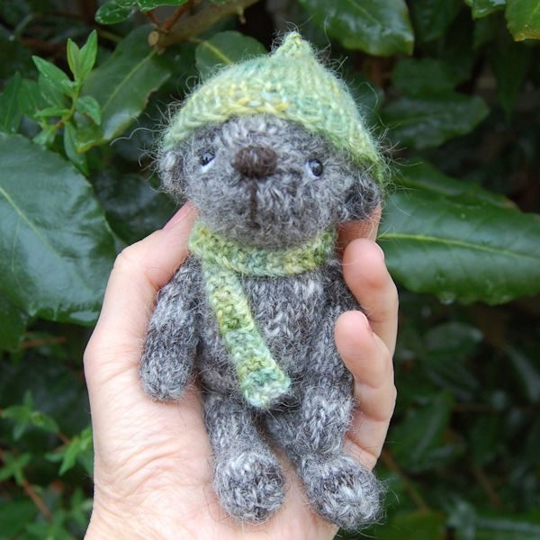 Cute little Pickle hand knitted in pure Jacob hand spun wool