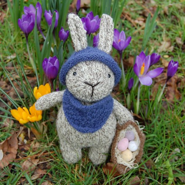 Finley a cute little rabbit hand knitted in pure rare breed Jacob wool