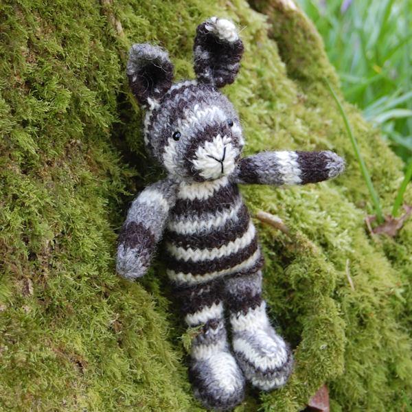 Humbug striped hand spun Jacob wool knitted rabbit