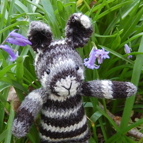 Humbug striped hand spun Jacob wool knitted rabbit