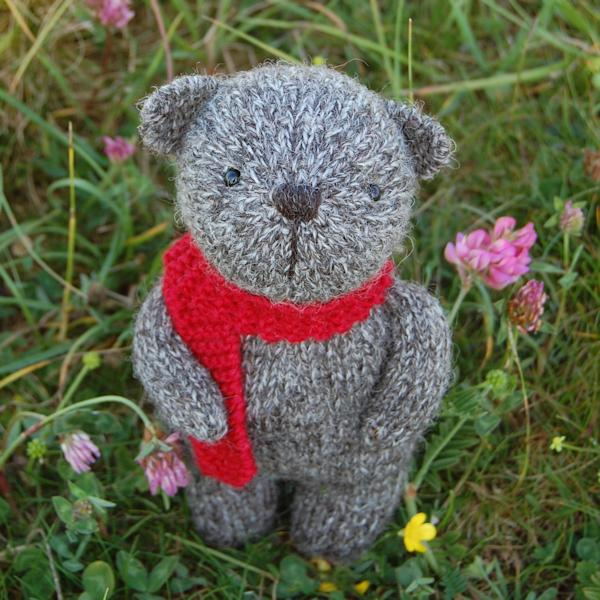 Very cute hand knitted teddy bear Hudson, made from pure Jacob rare breed wool