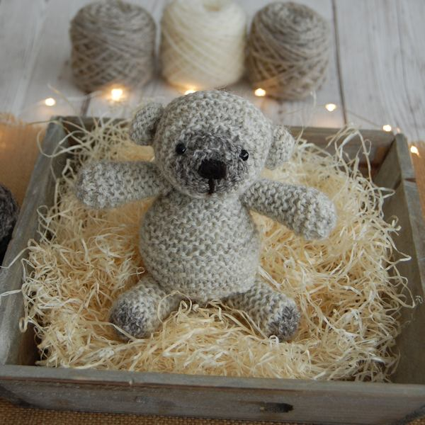 Little ted hand knitted from pure rare breed Jacob wool and measuring just 6 inches