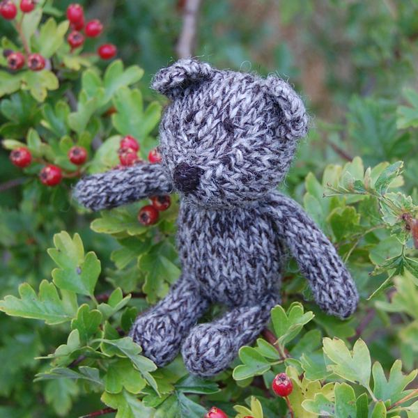Hand knitted Jacob wool teddy bear Jack