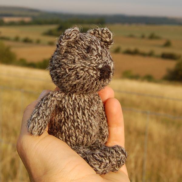 Adorable hand knitted teddy bear Jack enjoying the sunrise