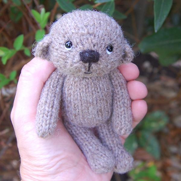 The very cute little Raphael, hand knitted in pure Manx Loaghtan wool and just pocket size.