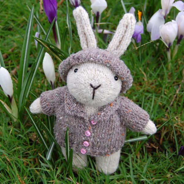 Imogen a cute little rabbit hand knitted in pure rare breed Norfolk Horn wool