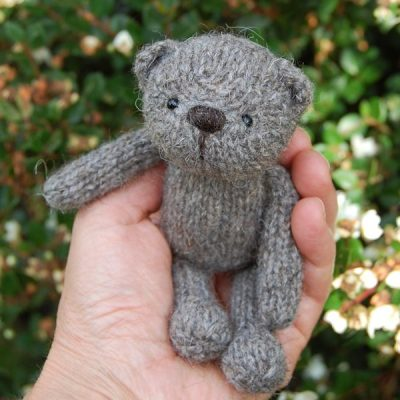 Aldwyn a hand made teddy bear knitted in pure North Ronaldsay rare breed wool