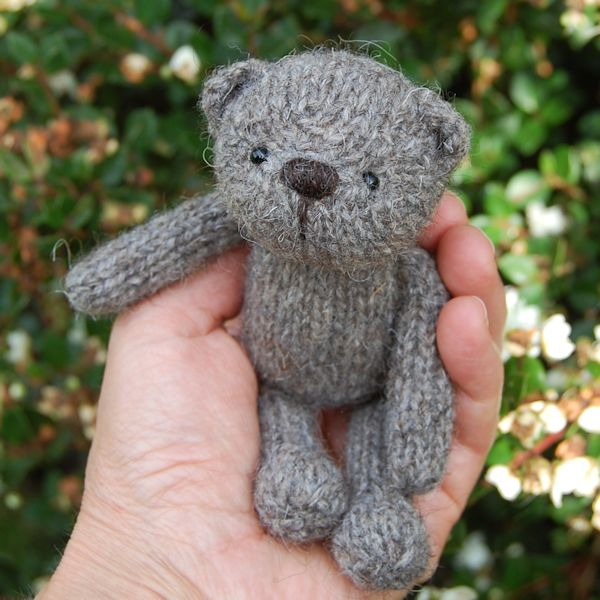 Aldwyn a hand made teddy bear knitted in pure North Ronaldsay rare breed wool
