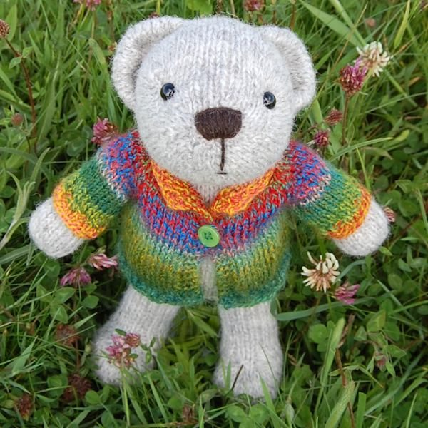 Cute little Gethin hand knitted in pure rare breed Portland wool