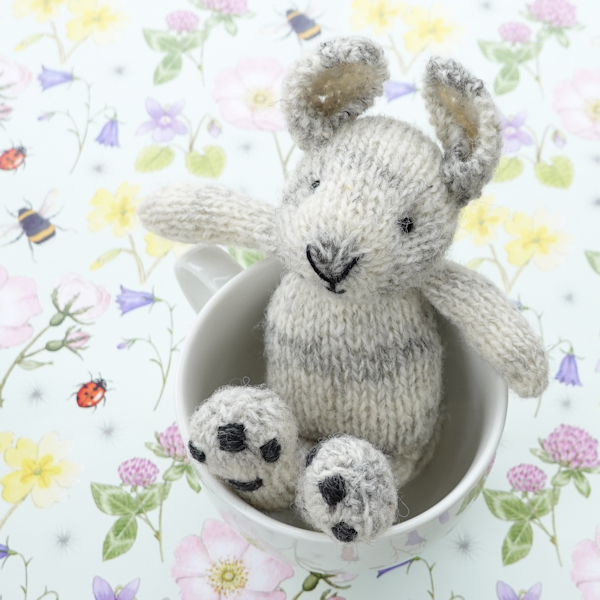 Gorgeous little hand knitted rabbit made from Cheviot and Zwartbles wool - The Knitted Bear Company