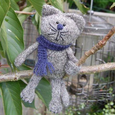 Felix the cat hand knitted in pure Shetland wool