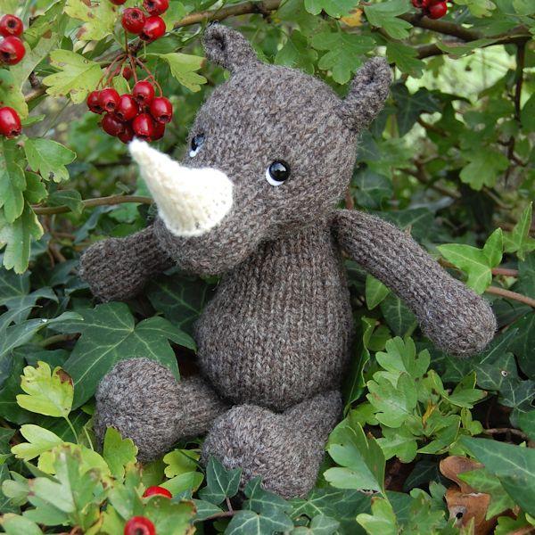 Hand knitted rhino