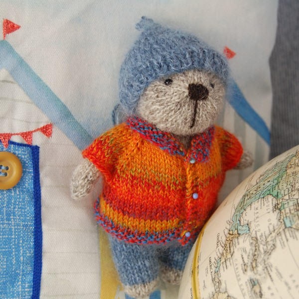 So cute, hand knitted Shetland wool teddy bear
