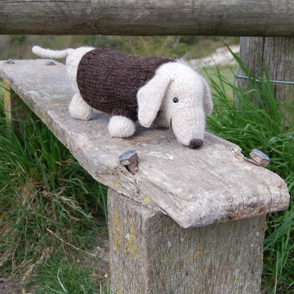 Albert the Dachshund Dog - hand knitted from pure Shetland hand spun wool