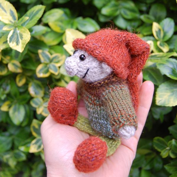 Cute little Sussex Elf hand knitted in pure Shetland wool