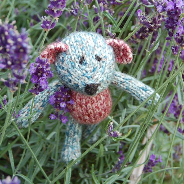 Cute little Marcel, a hand knitted teddy bear in Shetland wool and filled with organic lavender