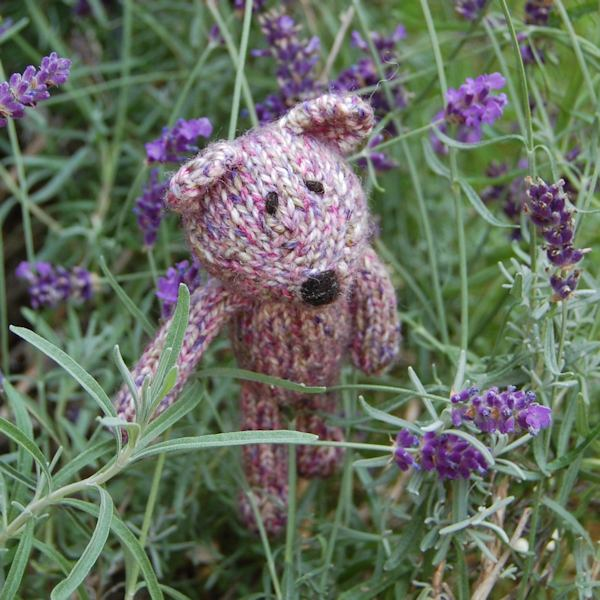 Adorable little Jacques, a hand knitted teddy bear in Shetland wool and filled with organic lavender