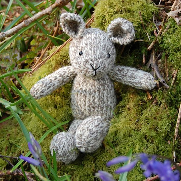 Adorable little pure Shetland wool knitted rabbit