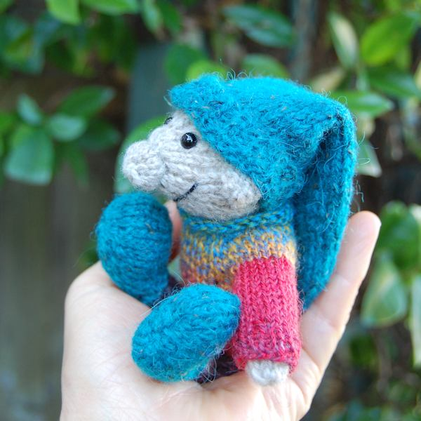 Cute and very cheeky Sussex Elf hand knitted in pure Shetland wool