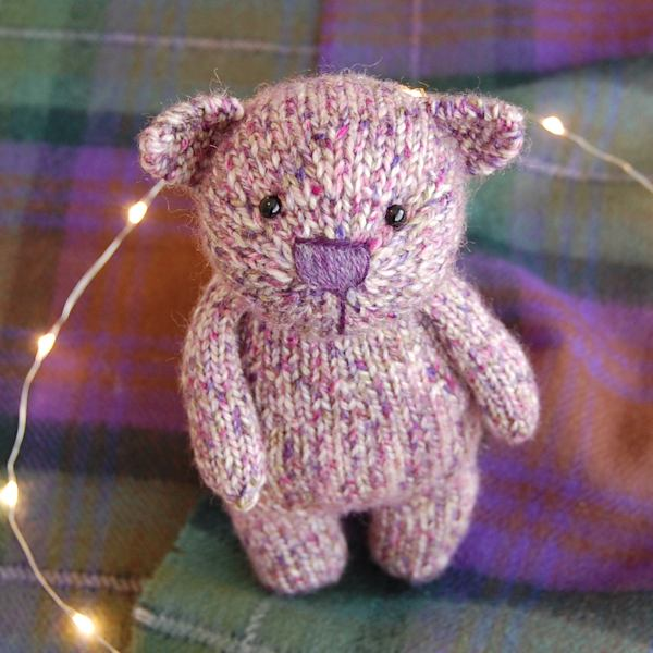 Gorgeous little Bramble bear hand knitted in pure Shetland Island tweed wool.