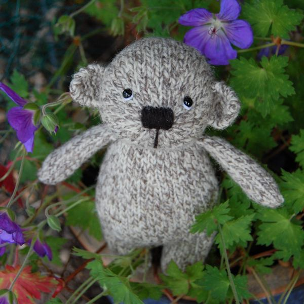 Cute little Noah, a hand knitted Shetland wool teddy bear