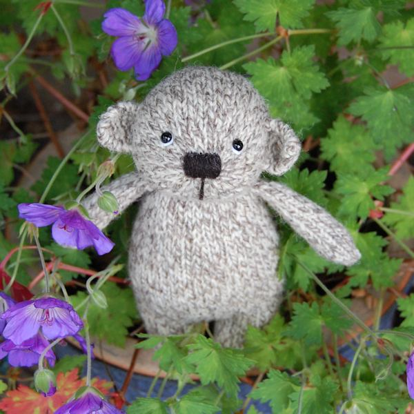 Cute little Noah, a Shetland pure wool hand knitted teddy bear
