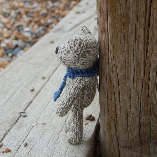 Hand knitted Shetland wool teddy bear Finn