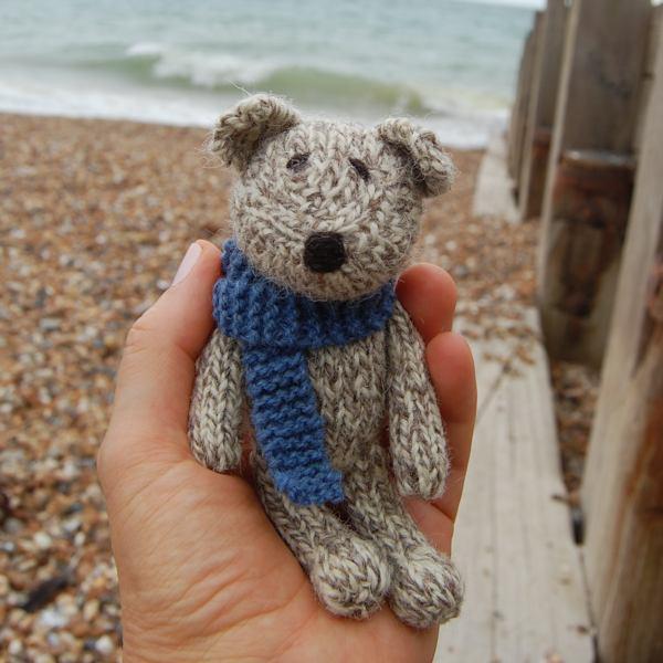 Pure Shetland wool hand knitted teddy bear