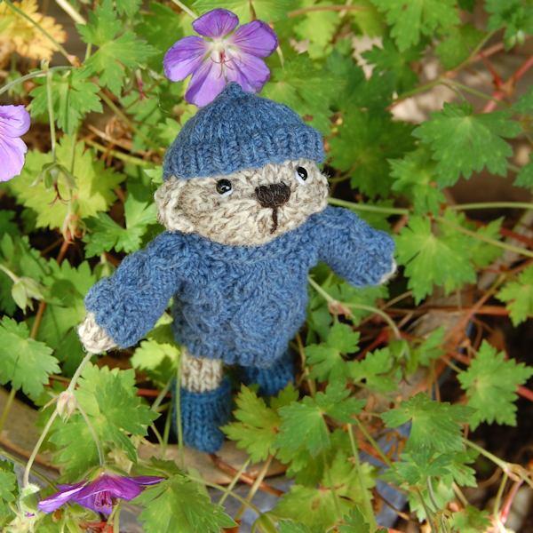 Cute little Haris hand knitted in certified organic Shetland wool