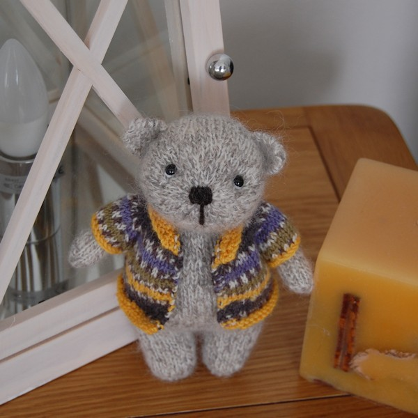 So cute! Hand knitted Shetland wool teddy bear
