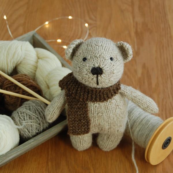 Cute little pure Shetland wool knitted teddy bear