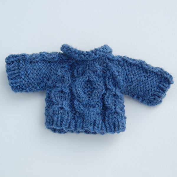 Shetland wool hand knitted Aran teddy bear jumper