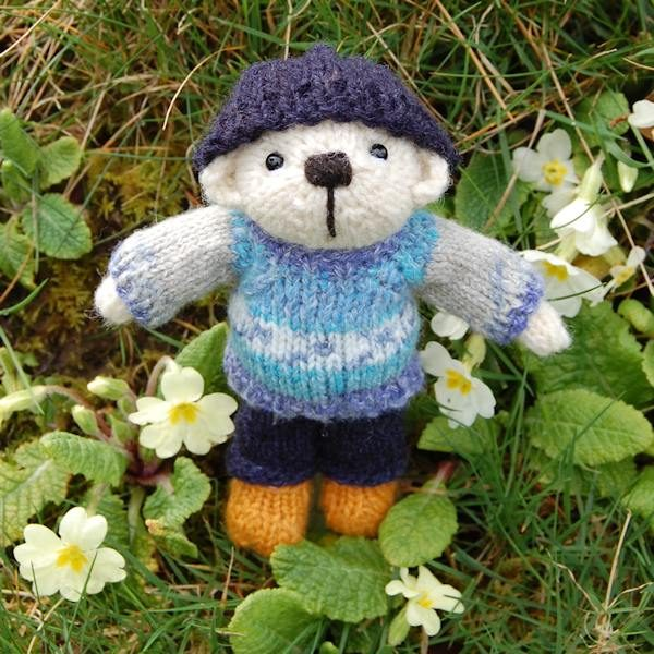 Our cute little pocket teddy bear hand knitted in pure Southdown wool