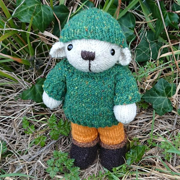 Cute little Hugo, hand knitted in pure Swaledale wool