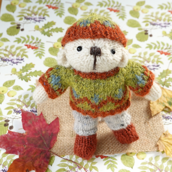 Little hand knitted pocket size teddy bear - The Knitted Bear Company