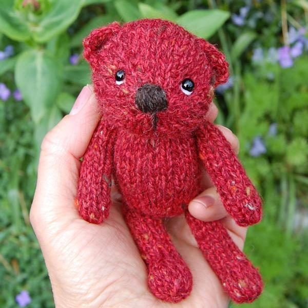 Tweed wool teddy bear - Cranberry