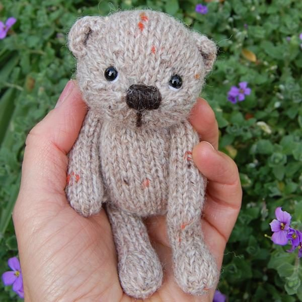 Tweed wool teddy bear - Oaty